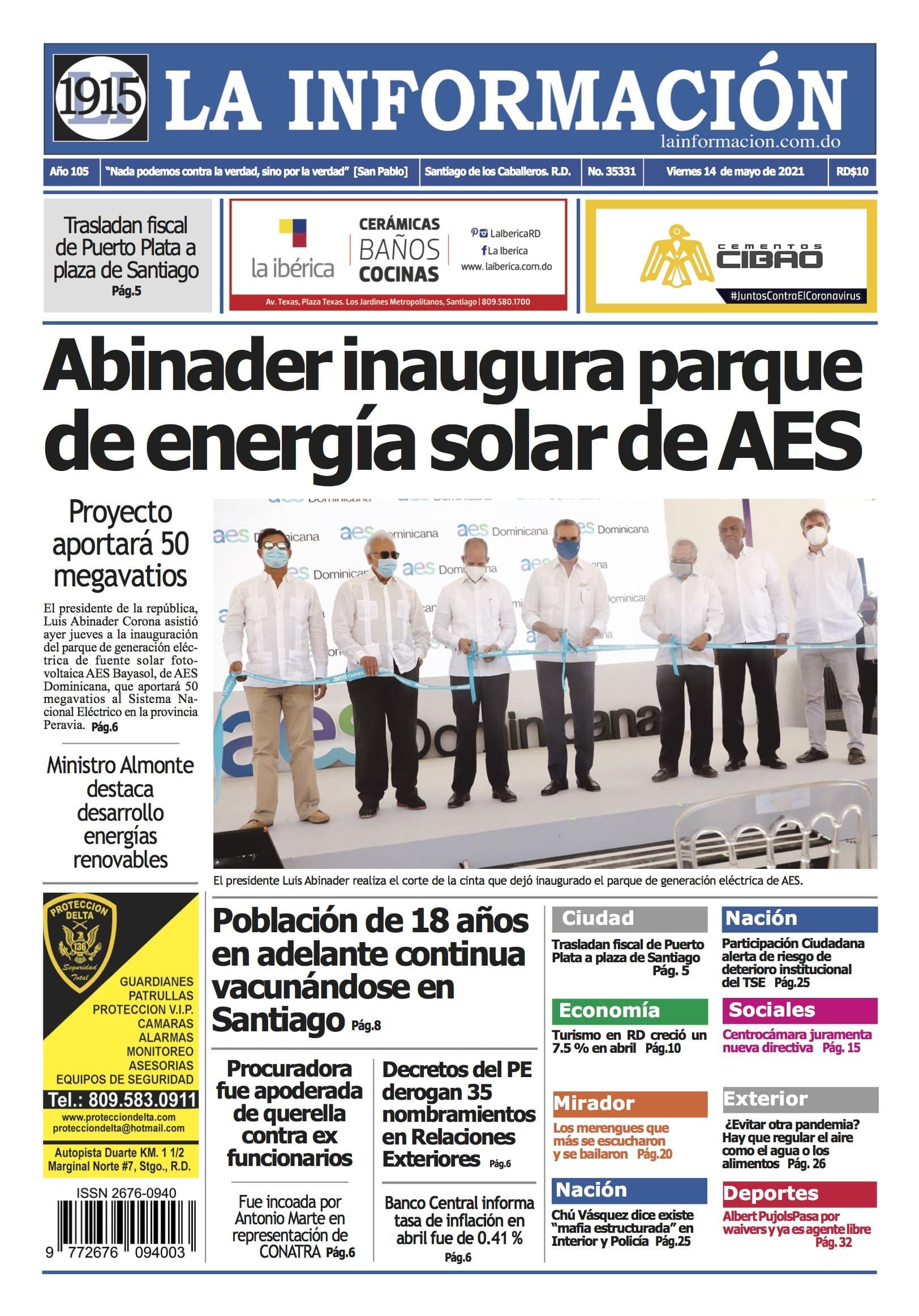 Portada Periódico La Información, Viernes 14 de Mayo, 2021