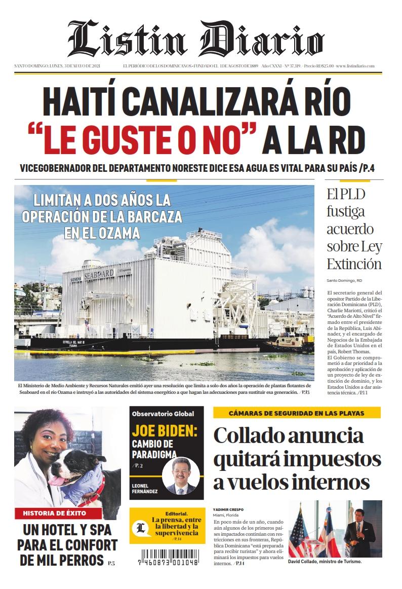 Portada Periódico Listín Diario, Lunes 03 de Mayo, 2021