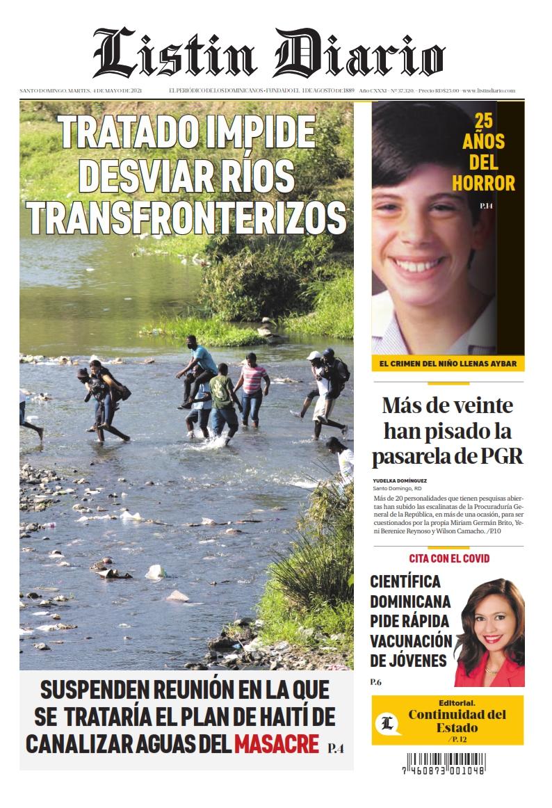 Portada Periódico Listín Diario, Martes 04 de Mayo, 2021