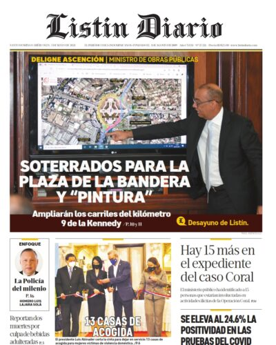 Portada Periódico Listín Diario, Miércoles 05 de Mayo, 2021