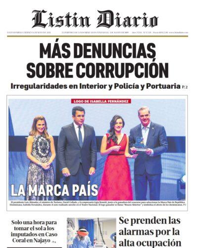 Portada Periódico Listín Diario, Viernes 14 de Mayo, 2021
