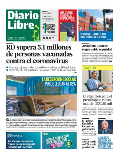 Portada Periódico Diario Libre, Lunes 07 Junio, 2021
