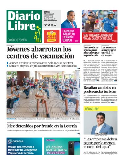 Portada Periódico Diario Libre, Lunes 14 Junio, 2021