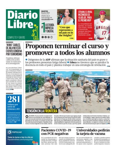 Portada Periódico Diario Libre, Martes 08 Junio, 2021