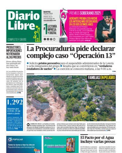 Portada Periódico Diario Libre, Martes 15 Junio, 2021