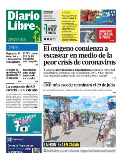 Portada Periódico Diario Libre, Miércoles 09 Junio, 2021