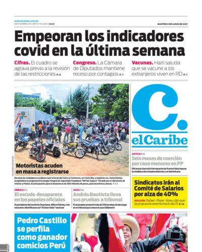 Portada Periódico El Caribe, Martes 08 Junio, 2021