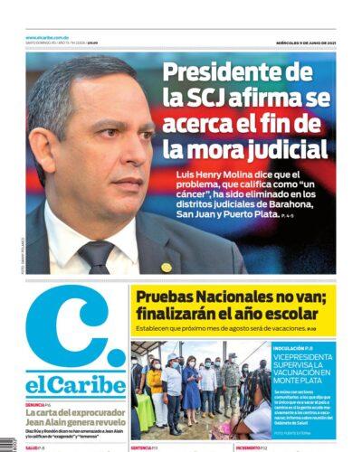 Portada Periódico El Caribe, Miércoles 09 Junio, 2021