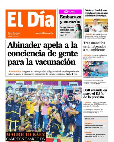 Portada Periódico El Día, Lunes 07 Junio, 2021