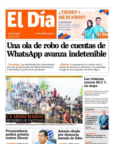 Portada Periódico El Día, Lunes 14 Junio, 2021