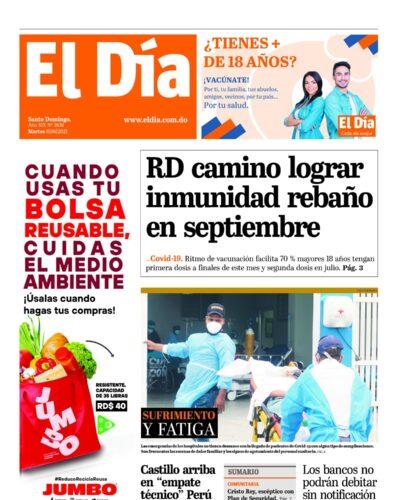 Portada Periódico El Día, Martes 08 Junio, 2021