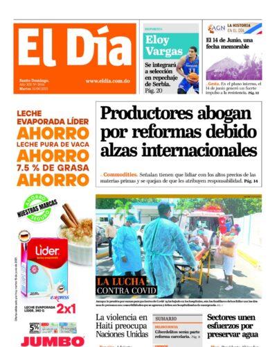 Portada Periódico El Día, Martes 15 Junio, 2021