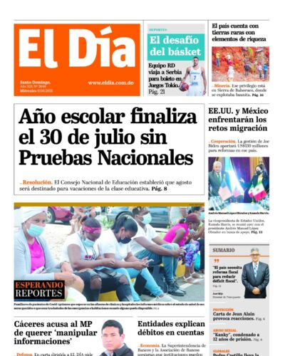 Portada Periódico El Día, Miércoles 09 Junio, 2021