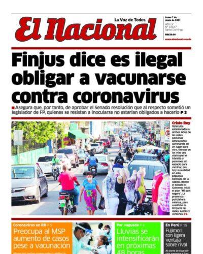 Portada Periódico El Nacional, Lunes 07 Junio, 2021