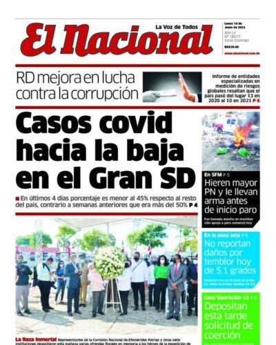 Portada Periódico El Nacional, Lunes 14 Junio, 2021