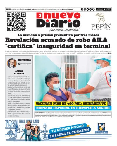 Portada Periódico El Nuevo Diario, Lunes 07 Junio, 2021