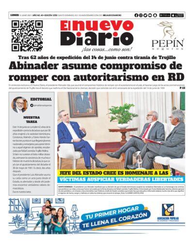 Portada Periódico El Nuevo Diario, Lunes 14 Junio, 2021