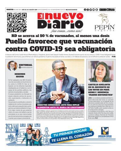 Portada Periódico El Nuevo Diario, Martes 08 Junio, 2021