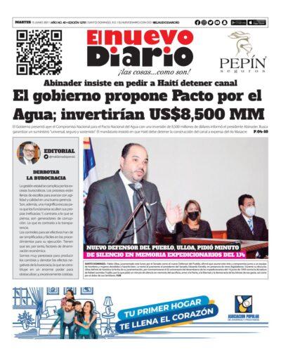 Portada Periódico El Nuevo Diario, Martes 15 Junio, 2021