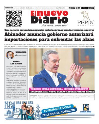 Portada Periódico El Nuevo Diario, Miércoles 09 Junio, 2021