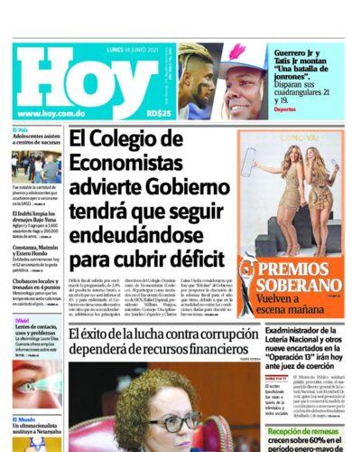 Portada Periódico Hoy, Lunes 14 Junio, 2021