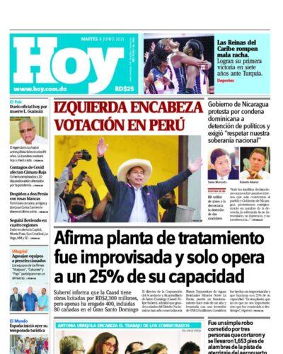 Portada Periódico Hoy, Martes 08 Junio, 2021
