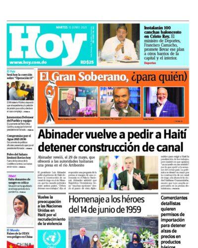 Portada Periódico Hoy, Martes 15 Junio, 2021