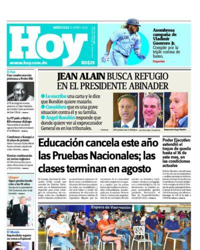 Portada Periódico Hoy, Miércoles 09 Junio, 2021