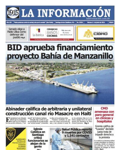 Portada Periódico La Información, Lunes 14 Junio, 2021
