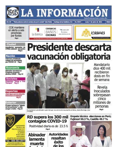 Portada Periódico La Información, Martes 08 Junio, 2021