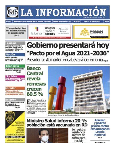 Portada Periódico La Información, Martes 15 Junio, 2021