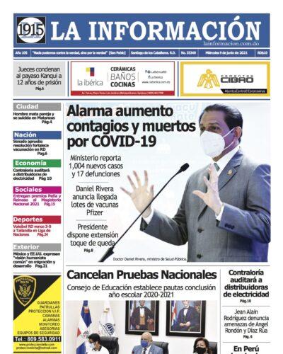 Portada Periódico La Información, Miércoles 09 Junio, 2021