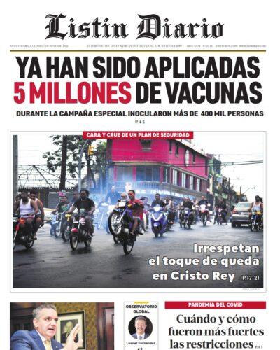 Portada Periódico Listín Diario, Lunes 07 Junio, 2021