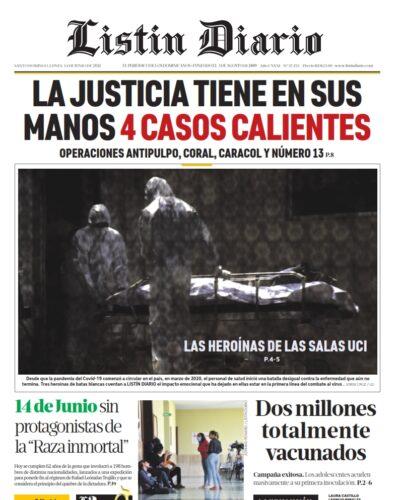 Portada Periódico Listín Diario, Lunes 14 Junio, 2021