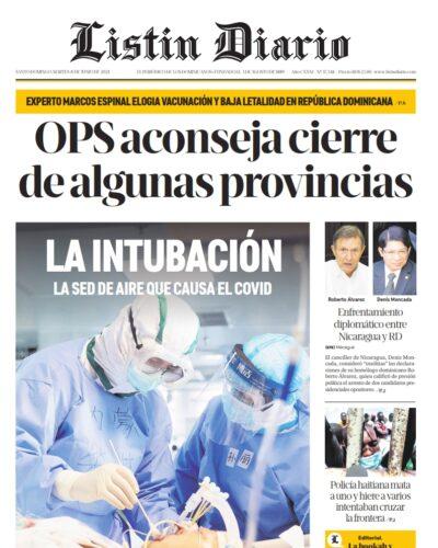 Portada Periódico Listín Diario, Martes 08 Junio, 2021