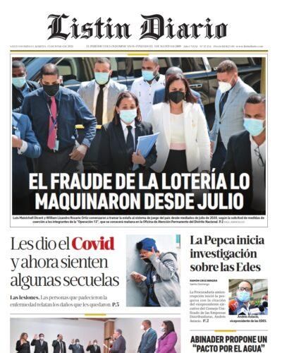 Portada Periódico Listín Diario, Martes 15 Junio, 2021