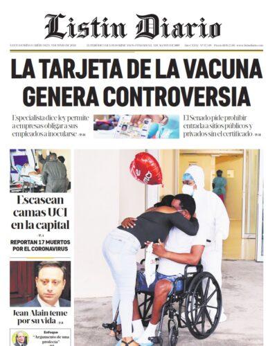 Portada Periódico Listín Diario, Miércoles 09 Junio, 2021