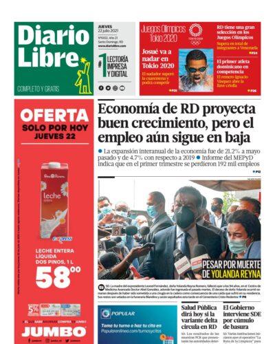 Portada Periódico Diario Libre, Jueves 22 Julio, 2021