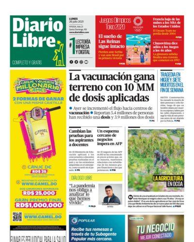 Portada Periódico Diario Libre, Lunes 26 Julio, 2021