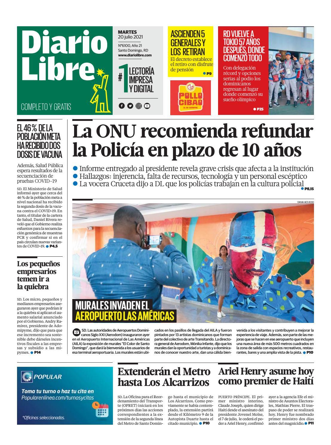 Portada Periódico Diario Libre, Martes 20 Julio, 2021