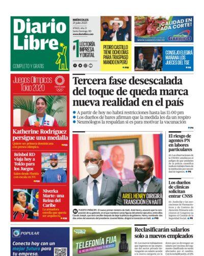 Portada Periódico Diario Libre, Miércoles 21 Julio, 2021