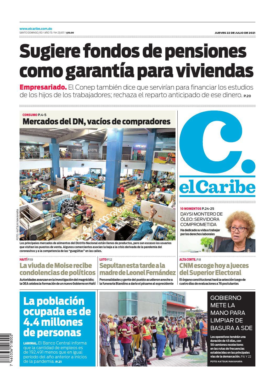 Portada Periódico El Caribe, Jueves 22 Julio, 2021
