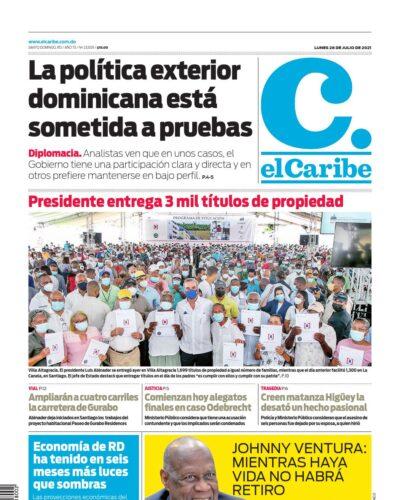 Portada Periódico El Caribe, Lunes 26 Julio, 2021