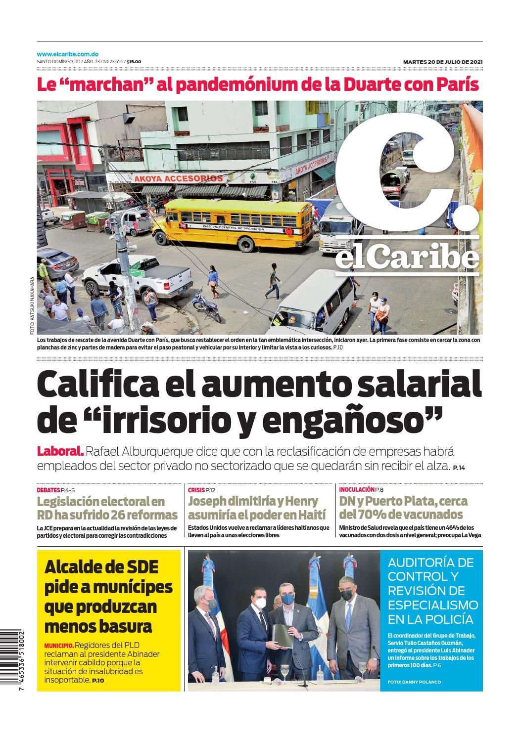 Portada Periódico El Caribe, Martes 20 Julio, 2021