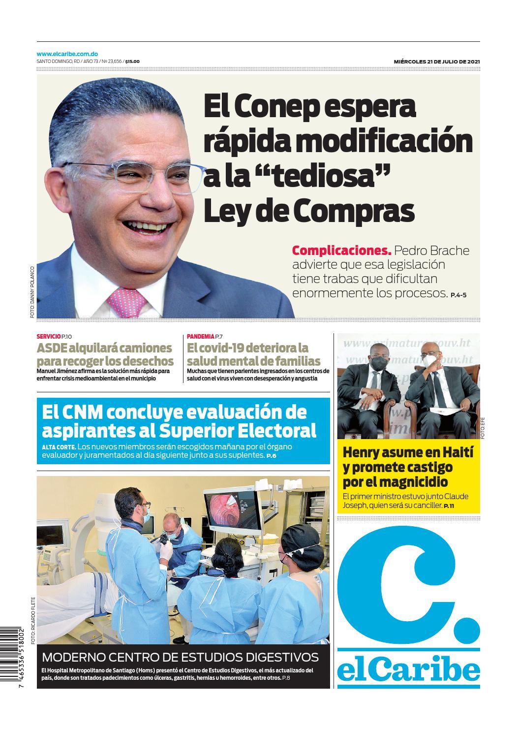 Portada Periódico El Caribe, Miércoles 21 Julio, 2021