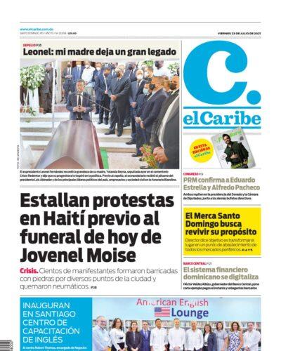 Portada Periódico El Caribe, Viernes 23 Julio, 2021