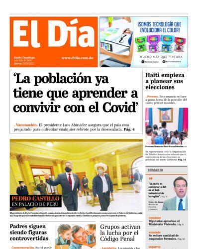 Portada Periódico El Día, Jueves 22 Julio, 2021