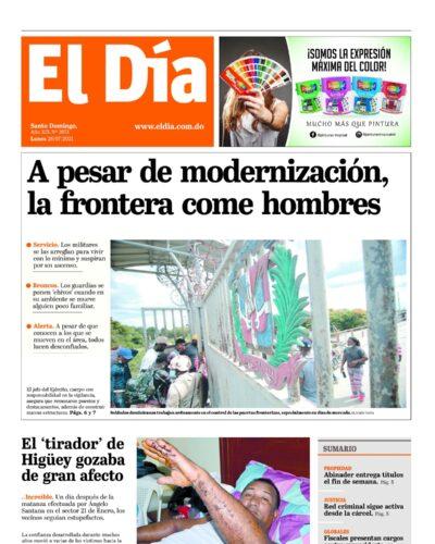 Portada Periódico El Día, Lunes 26 Julio, 2021