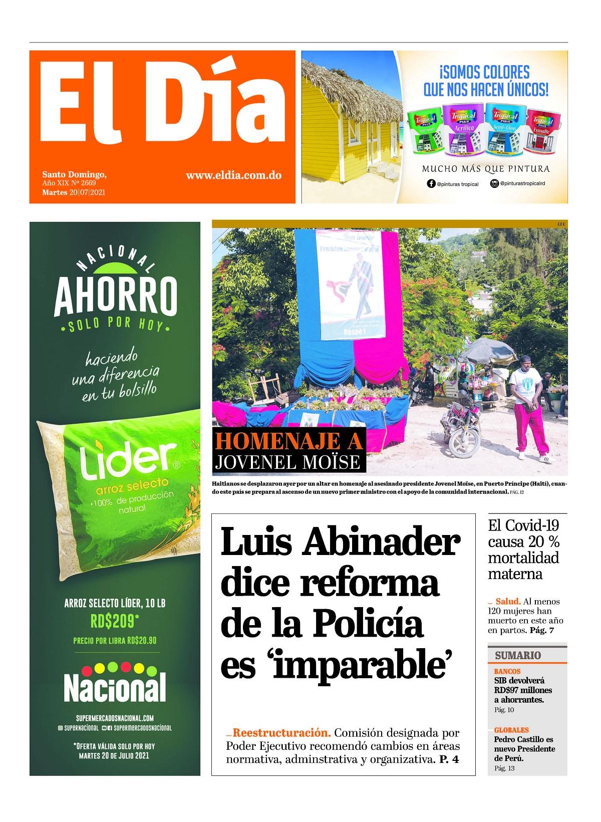 Portada Periódico El Día, Martes 20 Julio, 2021