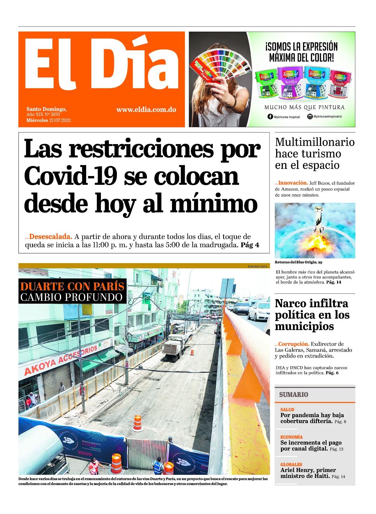 Portada Periódico El Día, Miércoles 21 Julio, 2021
